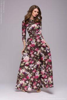 Длинное платье шоколадного цвета с цветочным принтом dm00206fc-5