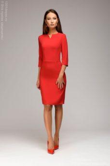 Красное платье-футляр с рукавами 3/4 купить в интернет-магазине