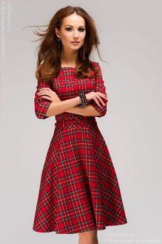 Красное платье в шотландскую клетку купить в Воронеже в интернет-магазине DRESS STORE