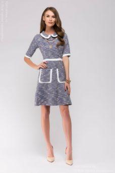 Купить синее платье с белой отделкой и накладными карманами в Воронеже