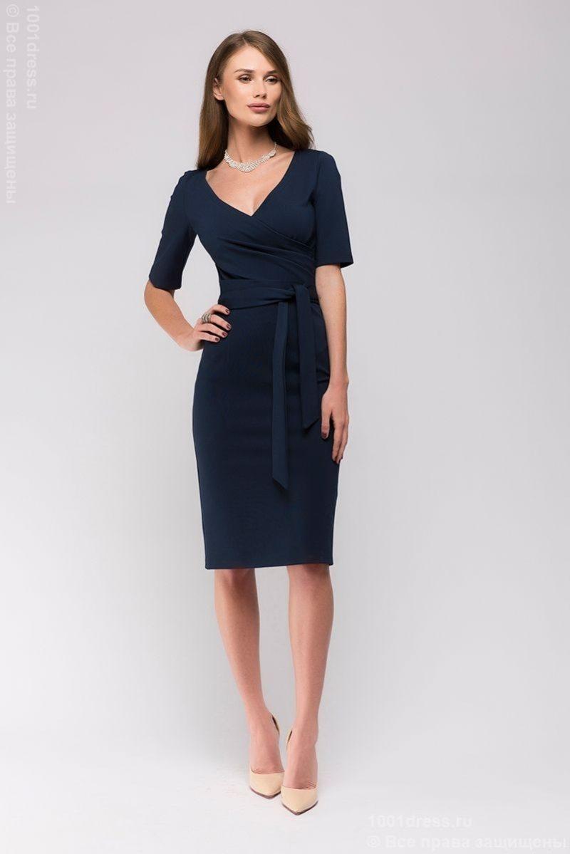 Темно-синее платье с вырезом купить в Воронеже