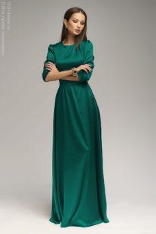 Вечернее платье в пол изумрудного цвета DM00206GR-1