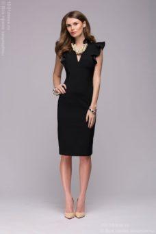 Купить Черное платье с воланами на плечах в магазине женской одежды в Воронеже