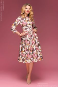 Ванильное платье миди с цветочным принтом купить в Воронеже