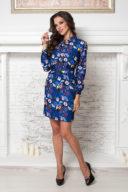Купить синее платье мини с графичным принтом в интернет-магазине