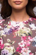 Купить длинное платье шоколадного цвета с цветочным принтом в магазине женской одежды в Воронеже