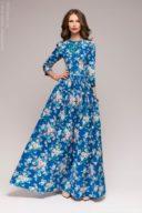 Купить длинное платье синего цвета с цветочным принтом в Воронеже