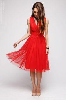 Купить красное коктейльнео платье миди без рукавов с бесплатной доставкой по Воронежу