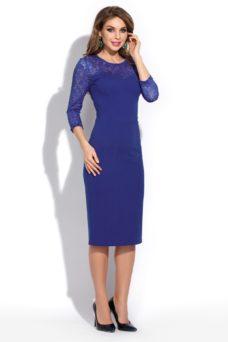 Заказать синее коктейльное платье длины миди с бесплатной доставкой по Воронежу