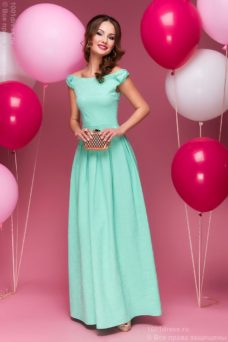 Длинное платье мятного цвета с бантиками на плечах купить в Воронеже