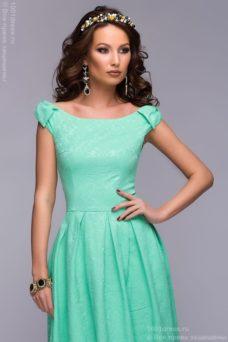 Длинное платье мятного цвета с бантиками на плечах купить в интернет-магазине