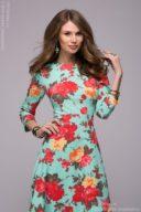 Купить длинное платье мятного цвета с цветочным принтом в интернет-магазине в Воронеже