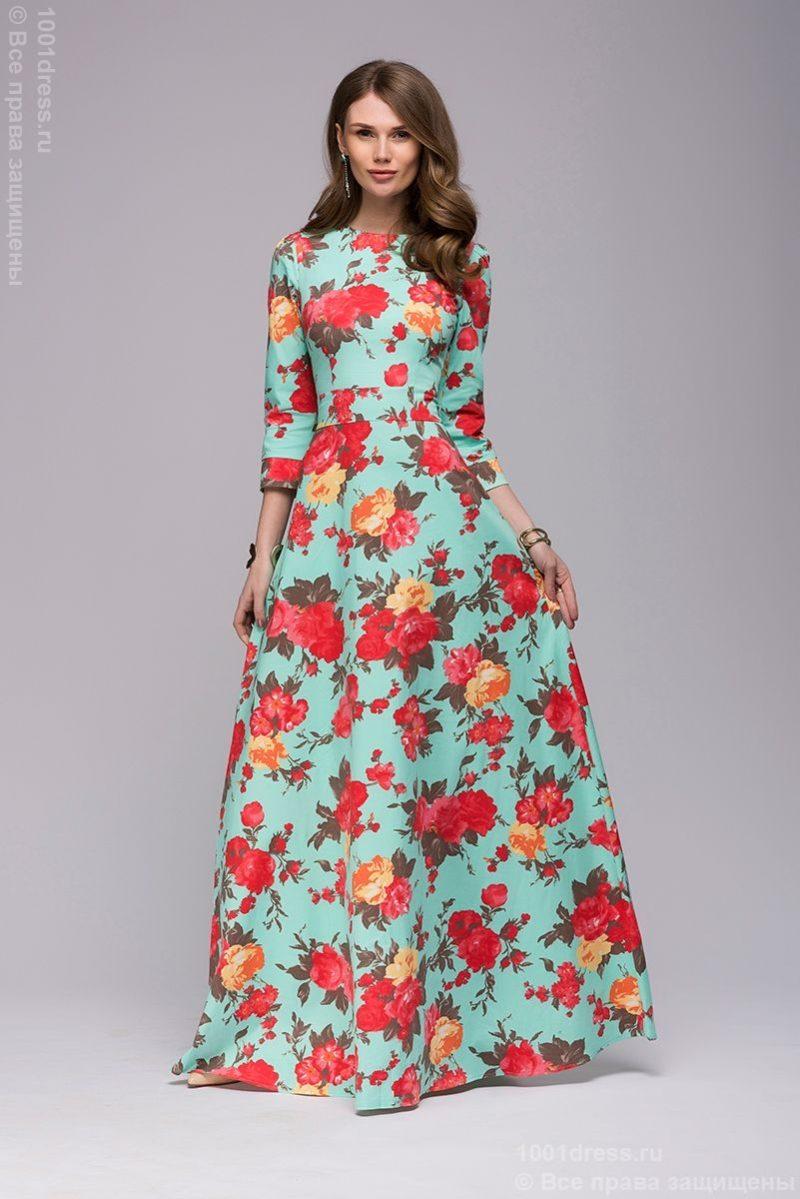 Длинное платье мятного цвета с цветочным принтом купить в Воронеже в магазине