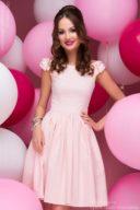 Короткое платье нежно-розового цвета с бантиками на плечах купить в Воронеже