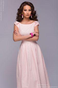 Нежно-розовое платье миди с бантиками на плечах купить в Воронеже