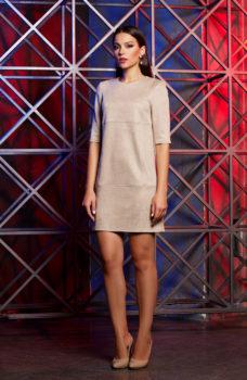 Платье бежевого цвета длины мини из эко-замши купить в Воронеже