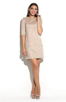 Купить Платье бежевого цвета длины мини из эко-замши в интернет-магазине