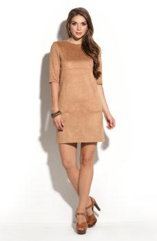 Платье песочного цвета длины мини из эко-замши купить в Воронеже