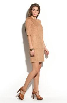 Купить Платье песочного цвета длины мини из эко-замши в интернет-магазине
