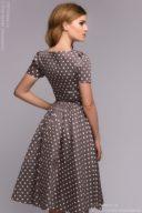 Заказать Платье цвета мокко в горошек в стиле ретро с бесплатной доставкой по Воронежу