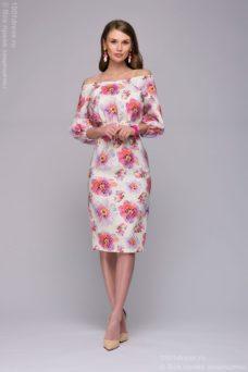 Белое платье длины миди с цветочным принтом и открытыми плечами купить в интернет-магазине