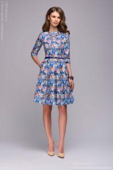 """Голубое платье с принтом """"бабочки"""" и пышной юбкой купить в интернет-магазине"""