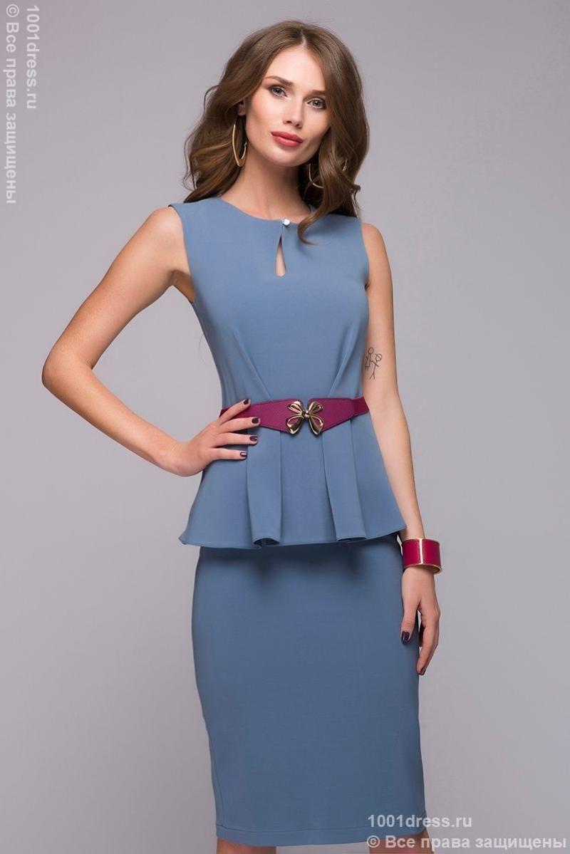 Платье футляр с баской