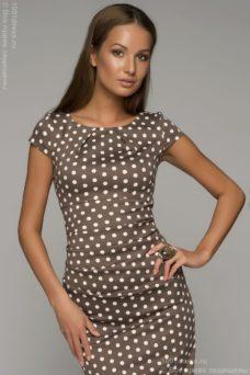 Платье-футляр цвета мокко в горошек купить в интернет-магазине