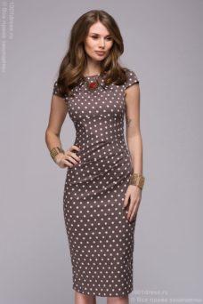 Заказать Платье-футляр цвета мокко в горошек с бесплатной доставкой по России