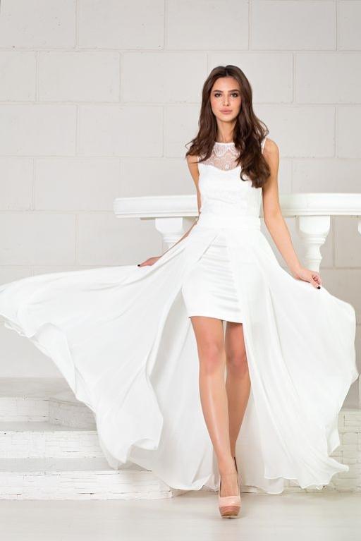 Свадебное платье-трансформер 2 в 1 цвета айвори купить в Воронеже