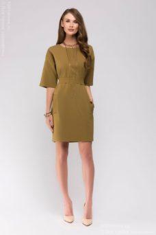 """Платье цвета хаки с рукавами """"летучая мышь"""" и карманами купить в интернет-магазине"""