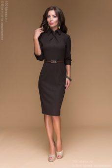 Шоколадное платье-футляр с имитацией галстука купить в интернет-магазине