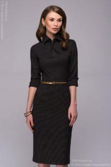 Темно-синее платье-футляр с имитацией галстука купить в Воронеже