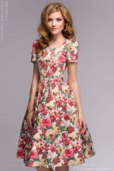 Ванильное платье с цветочным принтом в стиле ретро купить в Воронеже