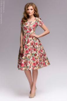 Ванильное платье с цветочным принтом в стиле ретро купить в интернет-магазине