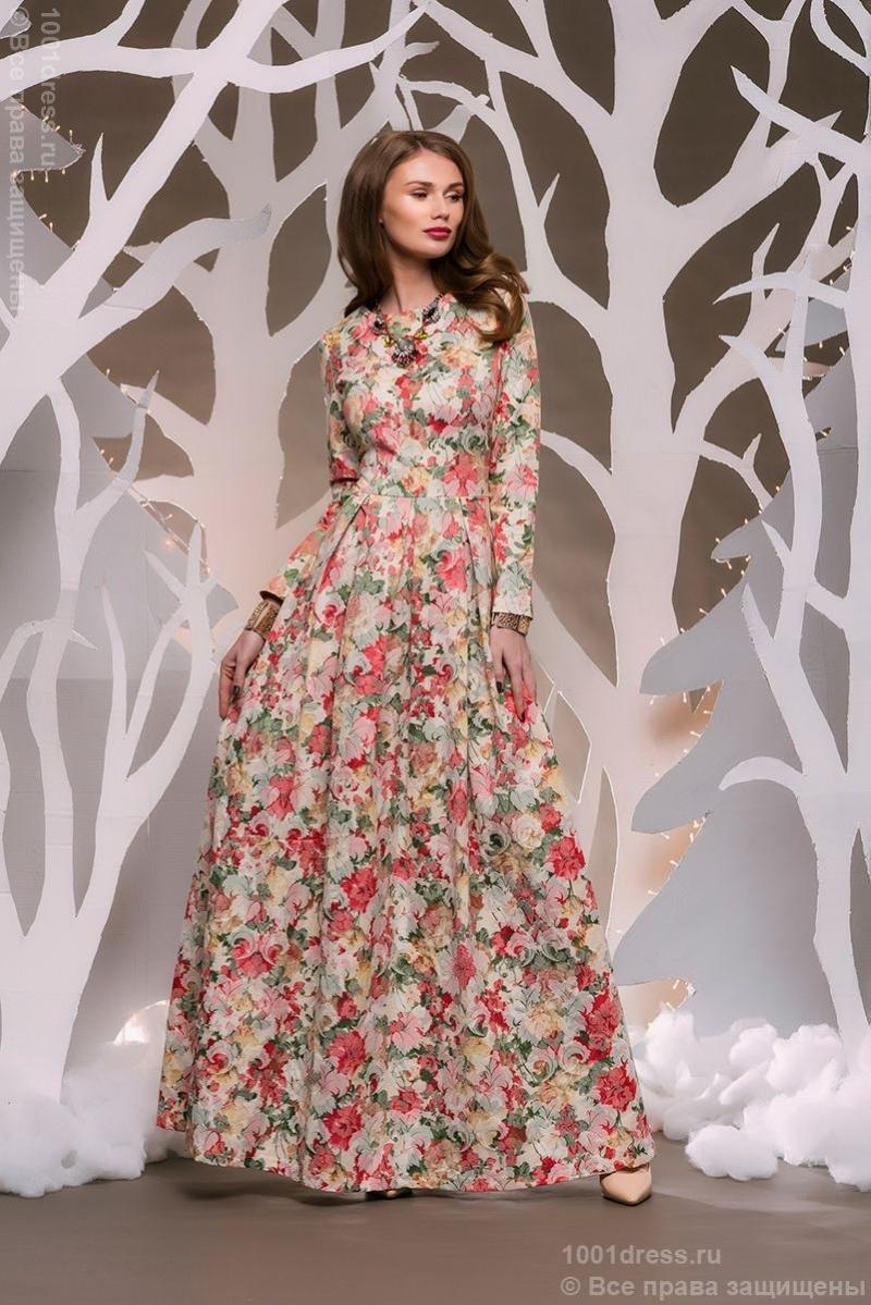 Фото платье длинное с рукавами с цветочным принтом