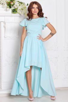 Вечернее платье ментолового цвета с асимметричной юбкой и короткими рукавами купить в Воронеже