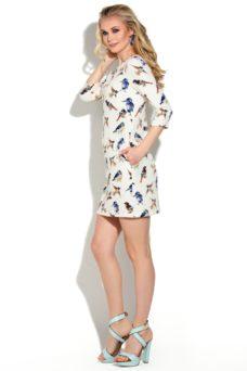 """Белое платье мини свободного кроя с принтом """"птички"""" купить в интернет-магазине"""