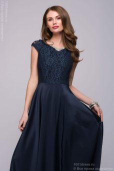 Длинное темно-синее платье с разрезом на юбке купить в интернет-магазине