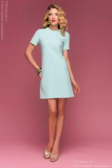 """Короткое белое платье с мятным принтом """"круги"""" купить в интернет-магазине"""