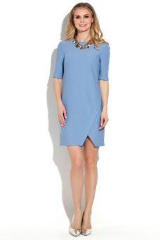 Короткое платье голубого цвета свободного кроя заказать с бесплатной доставкой по России