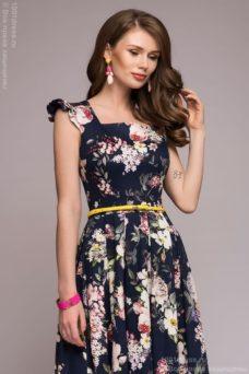 Длинный сарафан темно-синего цвета с цветочным принтом купить в интернет-магазине