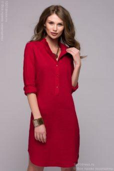 Красное платье-рубашка с разрезами по бокам купить в Воронеже