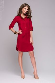 Красное платье-рубашка с разрезами по бокам купить в интернет-магазине