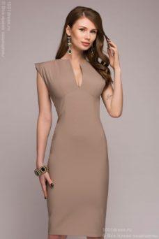 Платье-футляр бежевого цвета купить в Воронеже