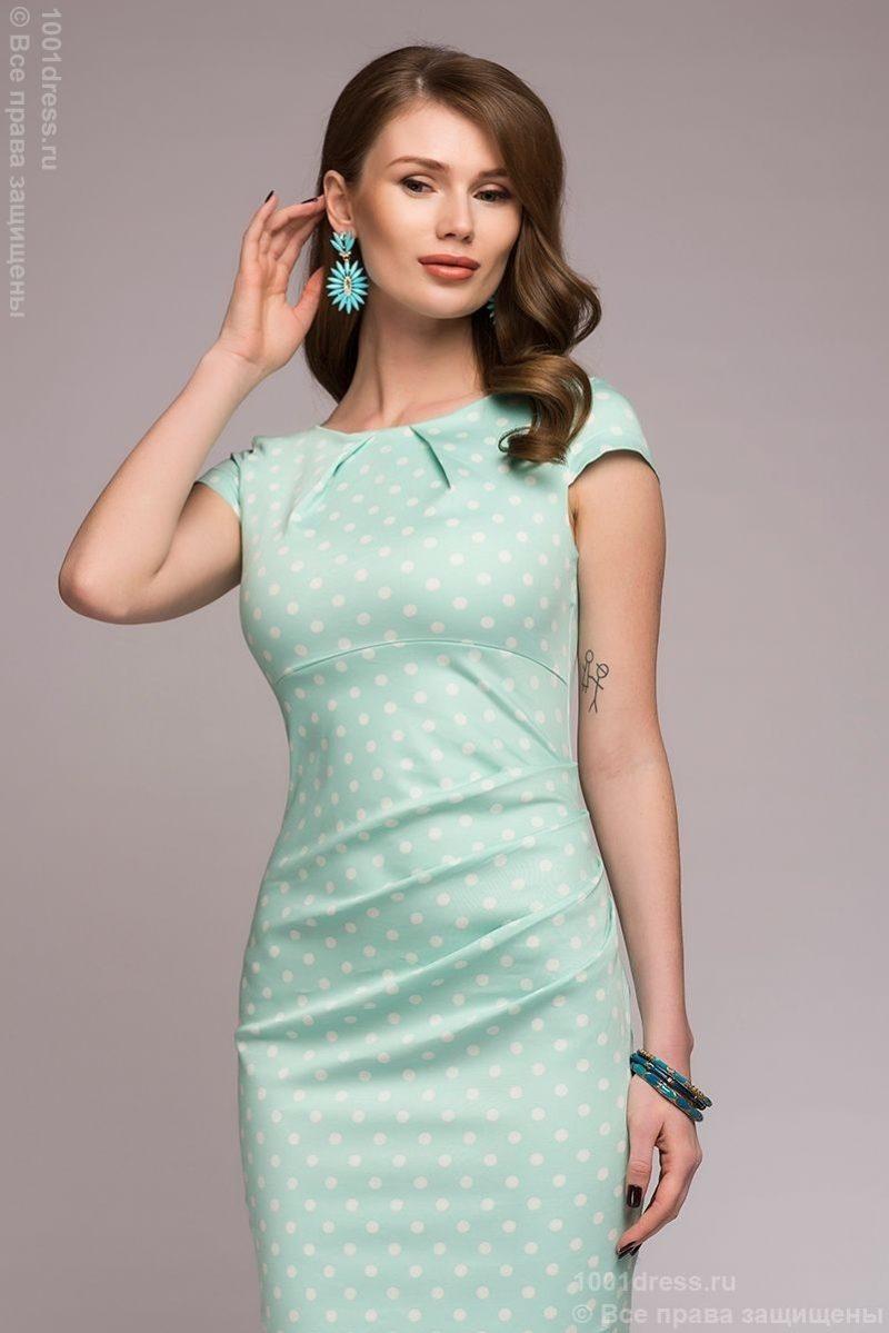 Платье-футляр мятного цвета в горошек купить в Воронеже