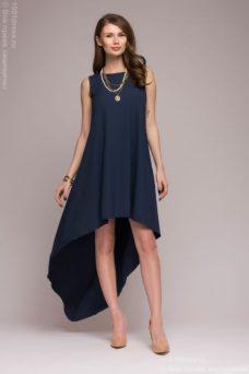 Разноуровневое платье темно-синего цвета купить в Воронеже