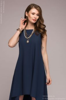 Разноуровневое платье темно-синего цвета купить в интернет-магазине