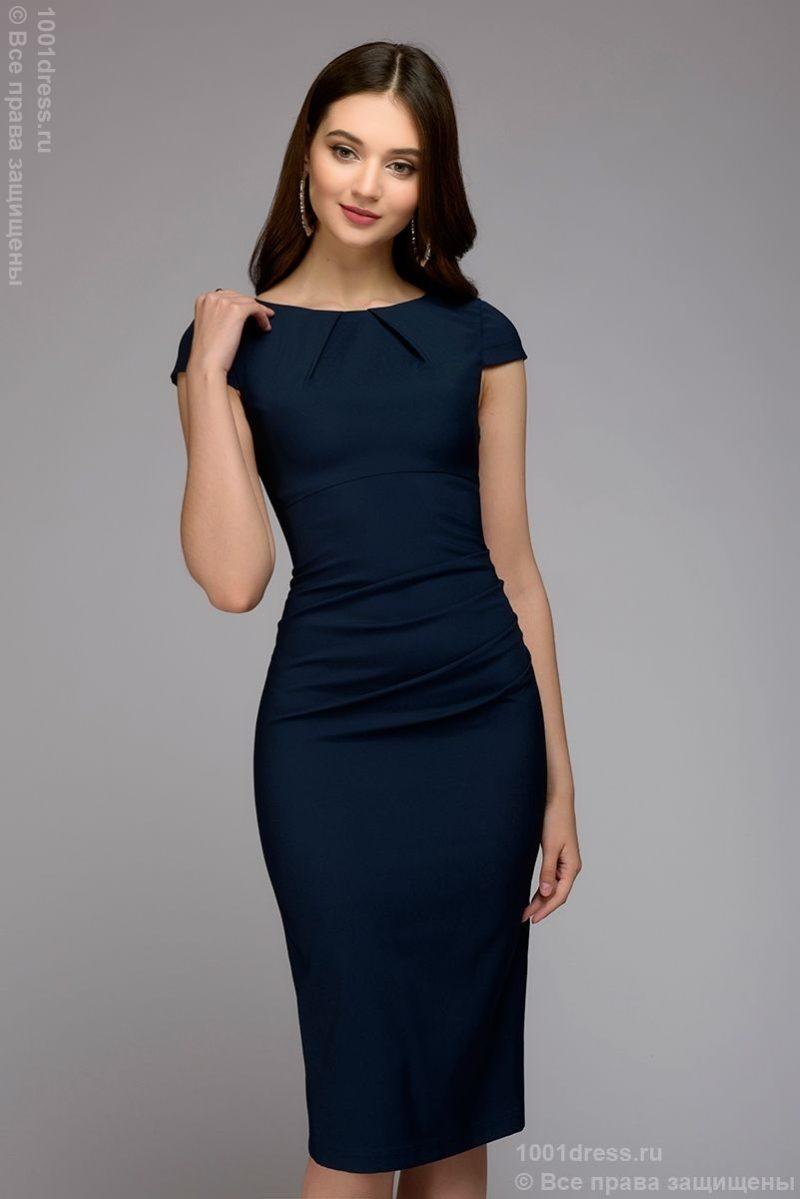 Синее платье-футляр с короткими рукавами купить в Воронеже