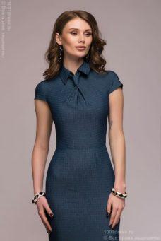 Синее платье в клетку с имитацией галстука и короткими рукавами купить в Воронеже
